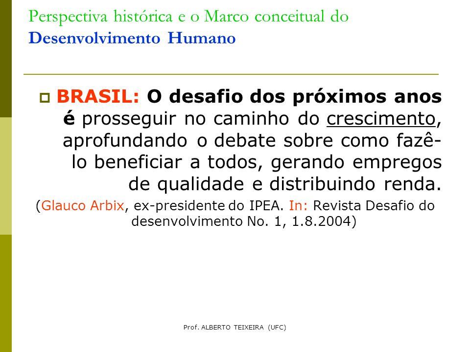 Perspectiva histórica e o Marco conceitual do Desenvolvimento Humano BRASIL: O desafio dos próximos anos é prosseguir no caminho do crescimento, aprof