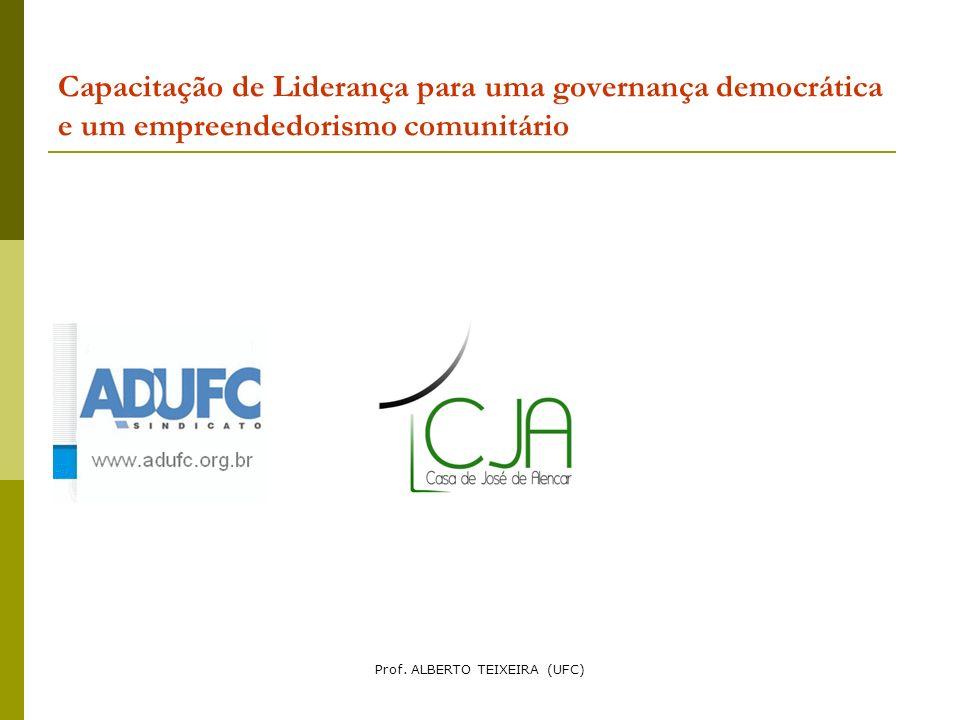 Capacitação de Liderança para uma governança democrática e um empreendedorismo comunitário Prof. ALBERTO TEIXEIRA (UFC)