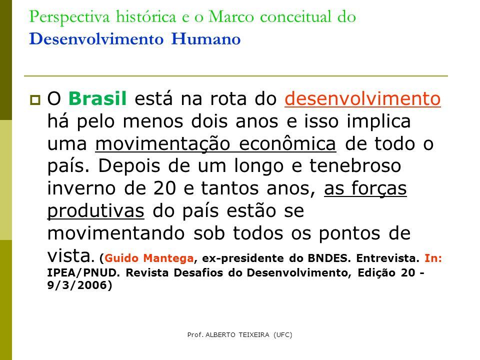 Perspectiva histórica e o Marco conceitual do Desenvolvimento Humano O Brasil está na rota do desenvolvimento há pelo menos dois anos e isso implica u