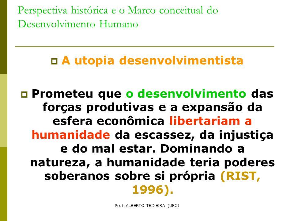 Perspectiva histórica e o Marco conceitual do Desenvolvimento Humano A utopia desenvolvimentista Prometeu que o desenvolvimento das forças produtivas