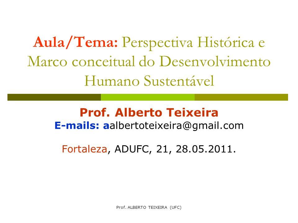Aula/Tema: Perspectiva Histórica e Marco conceitual do Desenvolvimento Humano Sustentável Prof. Alberto Teixeira E-mails: aalbertoteixeira@gmail.com F