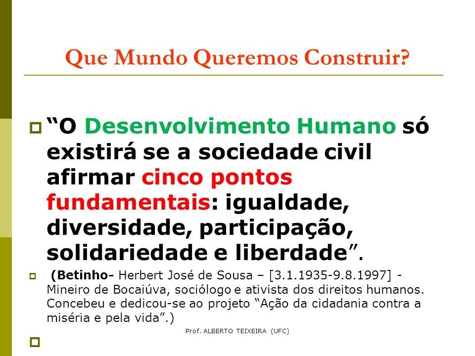 Que Mundo Queremos Construir? O Desenvolvimento Humano só existirá se a sociedade civil afirmar cinco pontos fundamentais: igualdade, diversidade, par