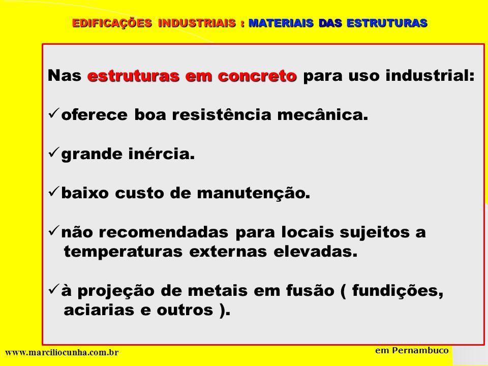 Grupo de Estudos da Logística em Pernambuco www.marciliocunha.com.br EDIFICAÇÕES INDUSTRIAIS : MATERIAIS DAS ESTRUTURAS EDIFICAÇÕES INDUSTRIAIS : MATE