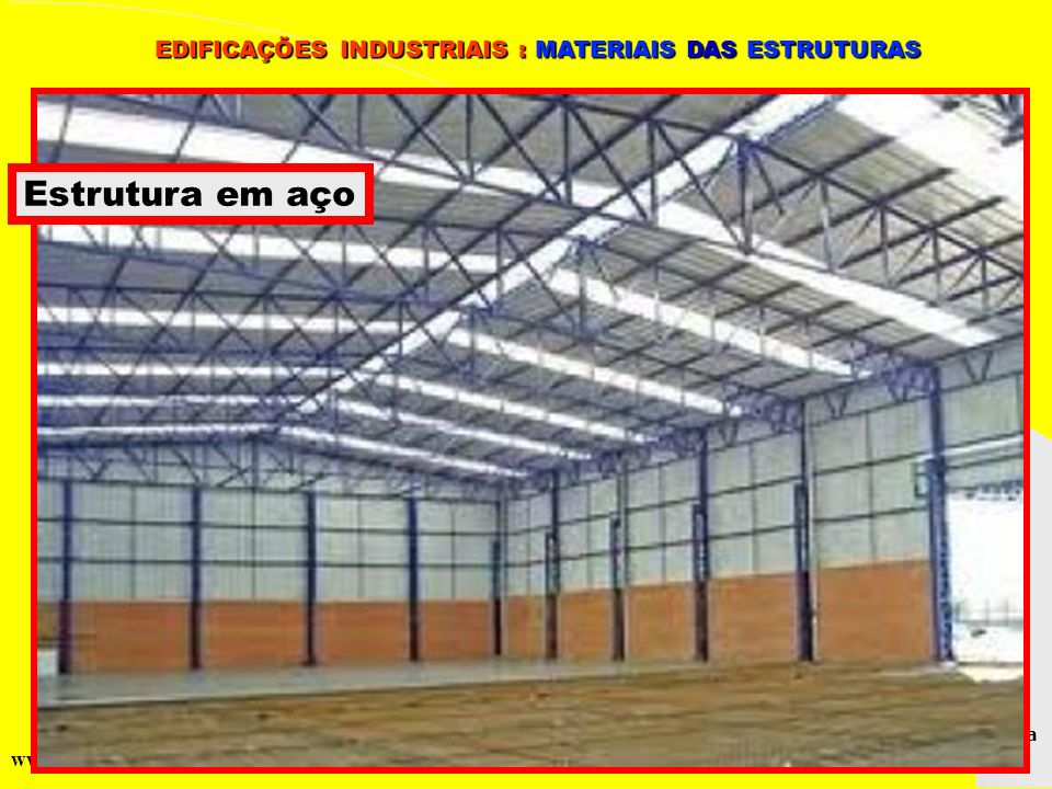 Grupo de Estudos da Logística em Pernambuco www.marciliocunha.com.br Estrutura em aço EDIFICAÇÕES INDUSTRIAIS : MATERIAIS DAS ESTRUTURAS EDIFICAÇÕES I