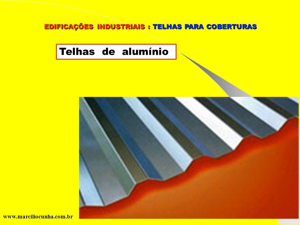 Grupo de Estudos da Logística em Pernambuco www.marciliocunha.com.br EDIFICAÇÕES INDUSTRIAIS : TELHAS PARA COBERTURAS EDIFICAÇÕES INDUSTRIAIS : TELHAS