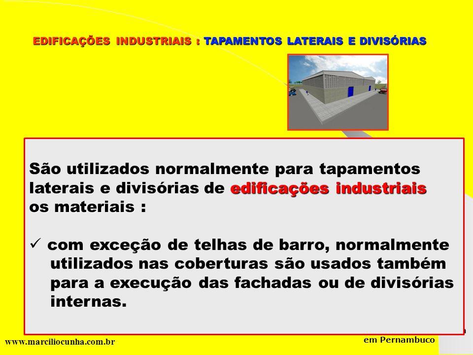 Grupo de Estudos da Logística em Pernambuco www.marciliocunha.com.br EDIFICAÇÕES INDUSTRIAIS : TAPAMENTOS LATERAIS E DIVISÓRIAS EDIFICAÇÕES INDUSTRIAI