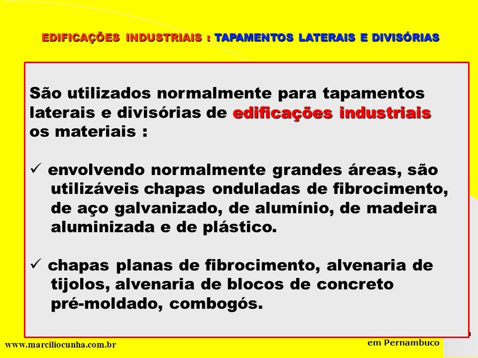 Grupo de Estudos da Logística em Pernambuco www.marciliocunha.com.br São utilizados normalmente para tapamentos edificações industriais laterais e div