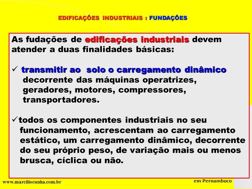 Grupo de Estudos da Logística em Pernambuco www.marciliocunha.com.br edificações industriais devem As fudações de edificações industriais devem atende