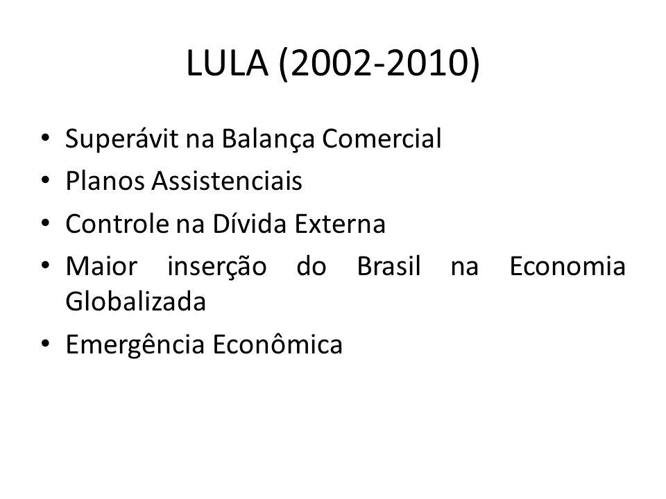 LULA (2002-2010) Superávit na Balança Comercial Planos Assistenciais Controle na Dívida Externa Maior inserção do Brasil na Economia Globalizada Emergência Econômica