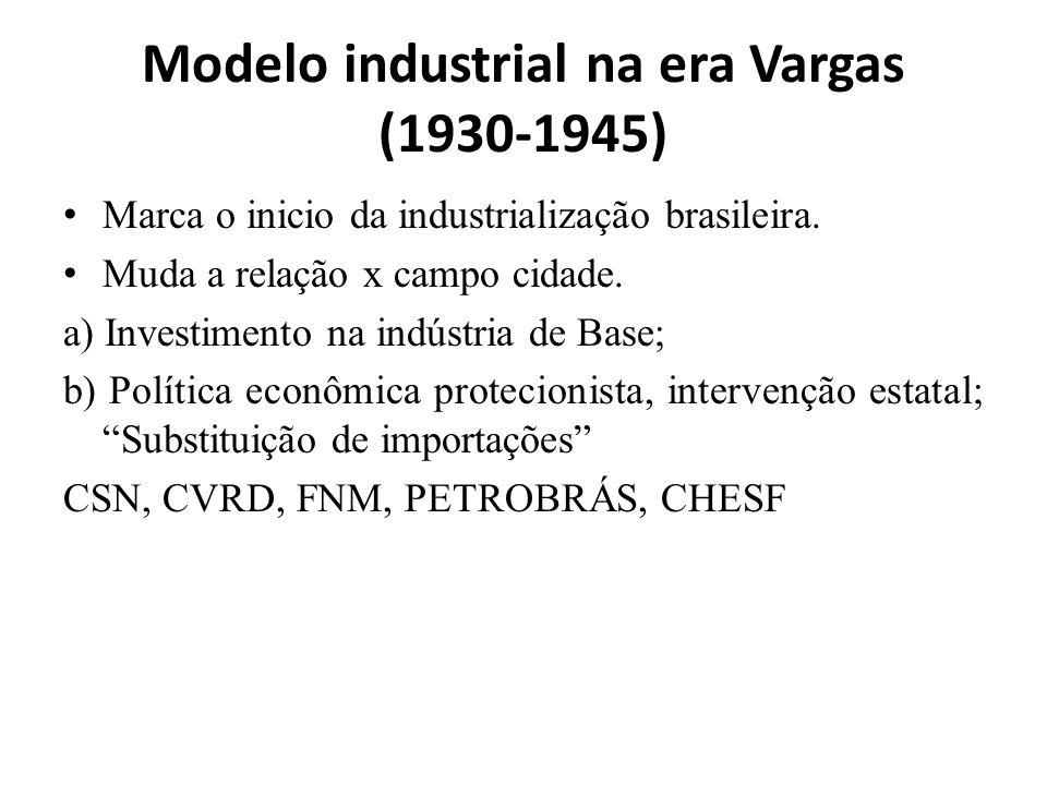 Governo JK (1955/1960) 1.Plano de Metas 50 anos em 5(Transporte, Saúde; Educação; Energia; 2.Facilitou a entrada das grandes indústrias estrangeiras no país; dando isenção de impostos, permissão para remessas de lucros(automobilístico e de eletrodomésticos); 3.JK construiu Brasília e mudou a capital do Rio de Janeiro para Brasília; 4.Empréstimos que triplicaram a dívida externa e da inflação, Aumento do custo de vida, Favelização.