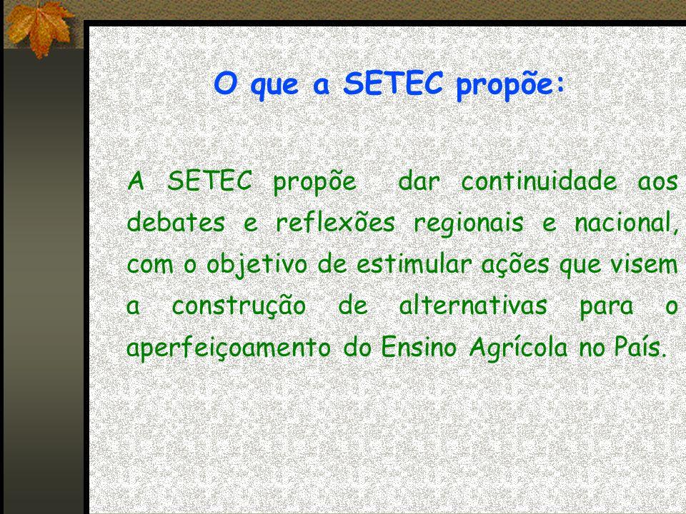 O que a SETEC propõe: A SETEC propõe dar continuidade aos debates e reflexões regionais e nacional, com o objetivo de estimular ações que visem a construção de alternativas para o aperfeiçoamento do Ensino Agrícola no País.