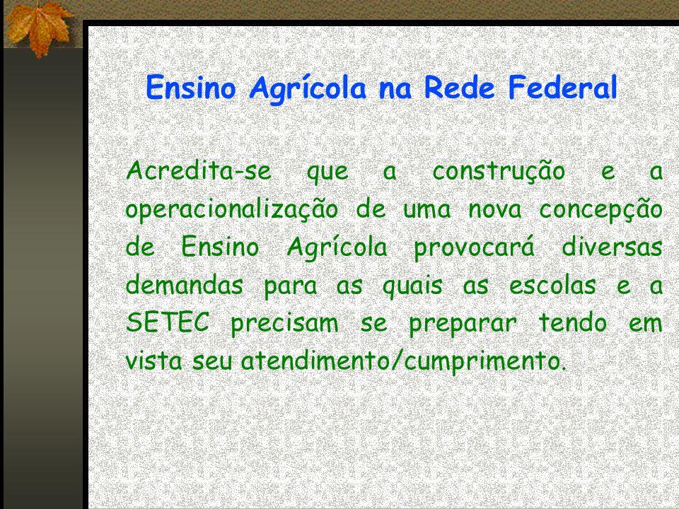 Ensino Agrícola na Rede Federal Acredita-se que a construção e a operacionalização de uma nova concepção de Ensino Agrícola provocará diversas demandas para as quais as escolas e a SETEC precisam se preparar tendo em vista seu atendimento/cumprimento.