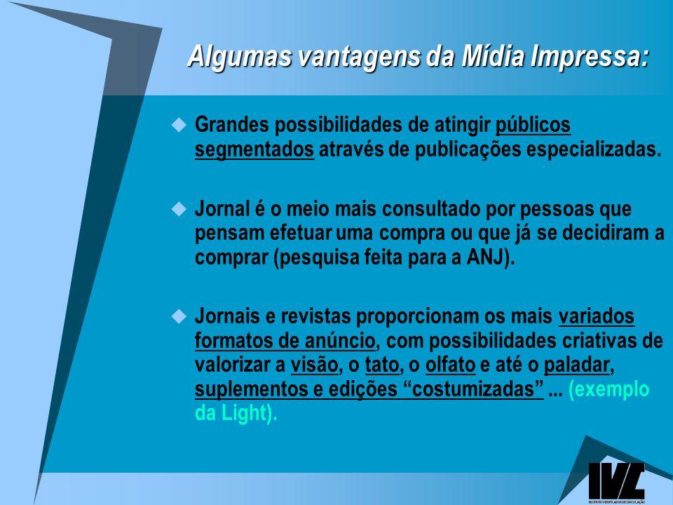 Algumas vantagens da Mídia Impressa: Grandes possibilidades de atingir públicos segmentados através de publicações especializadas.
