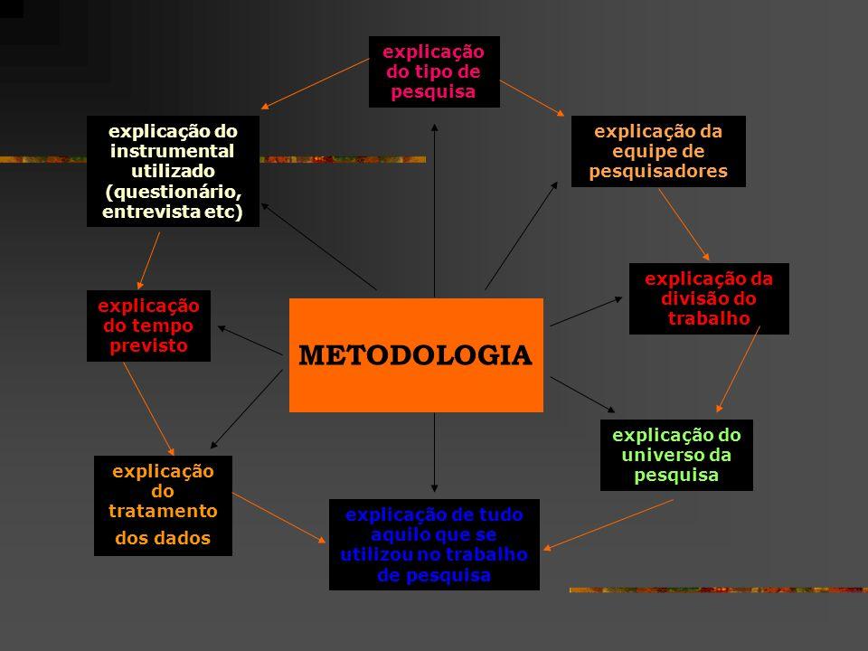 METODOLOGIA explicação do tipo de pesquisa explicação do instrumental utilizado (questionário, entrevista etc) explicação do tempo previsto explicação