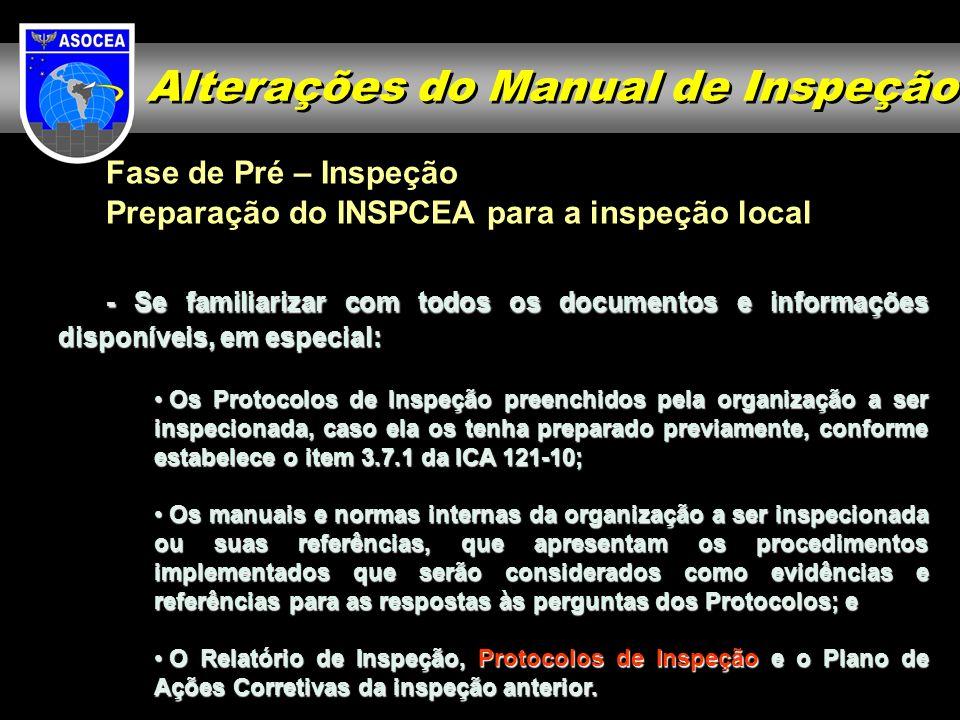 Fase de Pré – Inspeção Preparação do INSPCEA para a inspeção local - Se familiarizar com todos os documentos e informações disponíveis, em especial: O