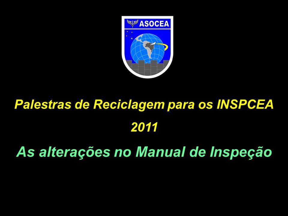 Palestras de Reciclagem para os INSPCEA 2011 As alterações no Manual de Inspeção
