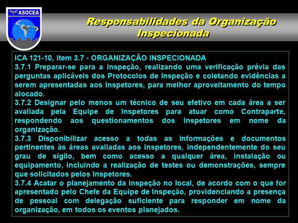 ICA 121-10, item 3.7 - ORGANIZAÇÃO INSPECIONADA 3.7.1 Preparar-se para a inspeção, realizando uma verificação prévia das perguntas aplicáveis dos Prot