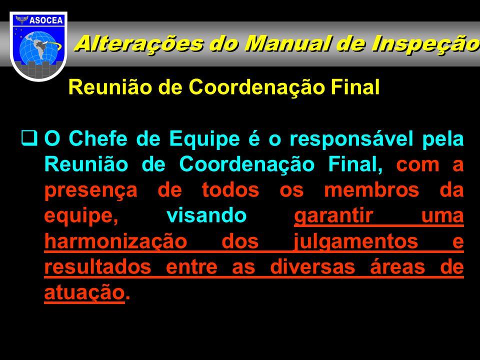 Reunião de Coordenação Final O Chefe de Equipe é o responsável pela Reunião de Coordenação Final, com a presença de todos os membros da equipe, visand