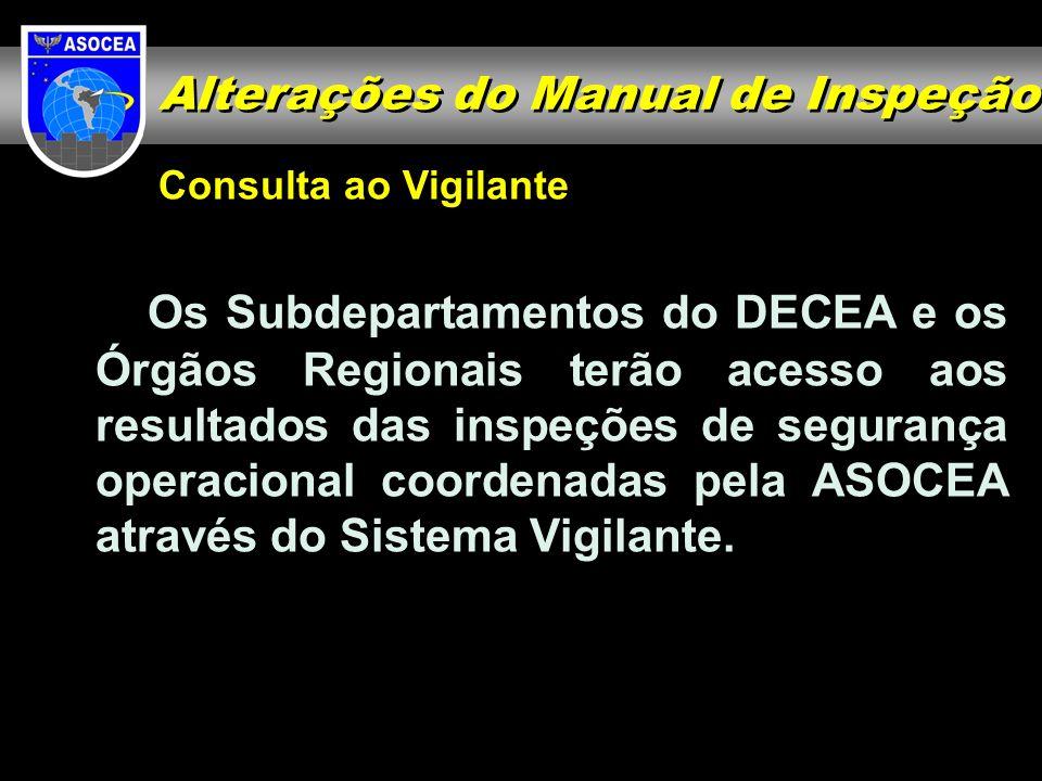 Consulta ao Vigilante Os Subdepartamentos do DECEA e os Órgãos Regionais terão acesso aos resultados das inspeções de segurança operacional coordenada