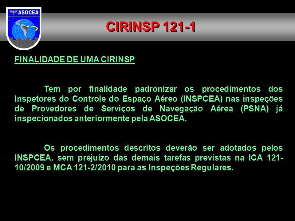 FINALIDADE DE UMA CIRINSP Tem por finalidade padronizar os procedimentos dos Inspetores do Controle do Espaço Aéreo (INSPCEA) nas inspeções de Provedo
