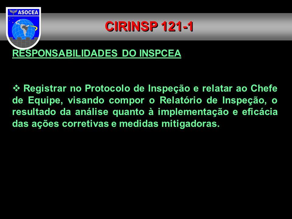 RESPONSABILIDADES DO INSPCEA Registrar no Protocolo de Inspeção e relatar ao Chefe de Equipe, visando compor o Relatório de Inspeção, o resultado da a