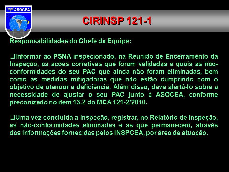 Responsabilidades do Chefe da Equipe: Informar ao PSNA inspecionado, na Reunião de Encerramento da Inspeção, as ações corretivas que foram validadas e