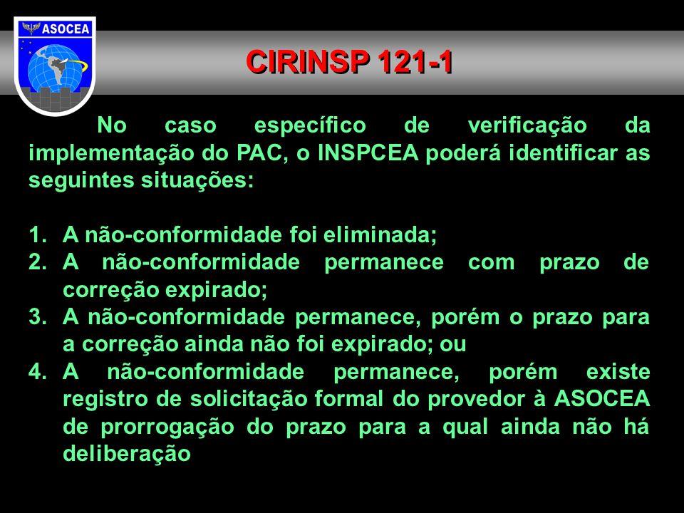 No caso específico de verificação da implementação do PAC, o INSPCEA poderá identificar as seguintes situações: 1. A não-conformidade foi eliminada; 2