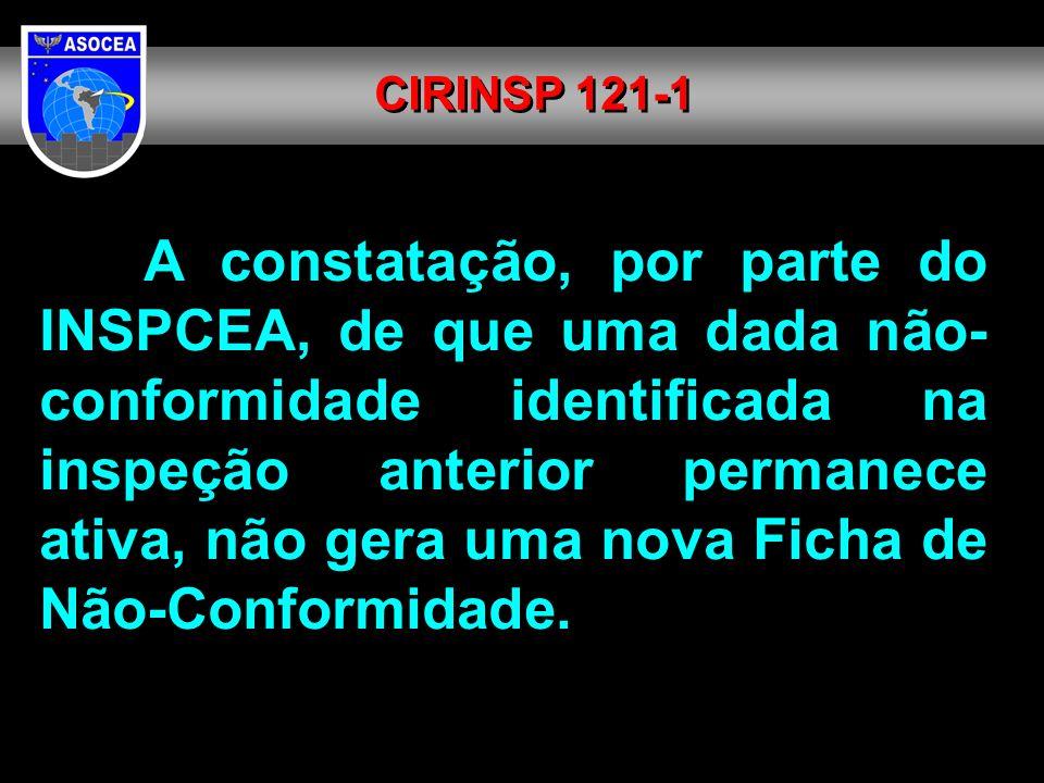 A constatação, por parte do INSPCEA, de que uma dada não- conformidade identificada na inspeção anterior permanece ativa, não gera uma nova Ficha de N