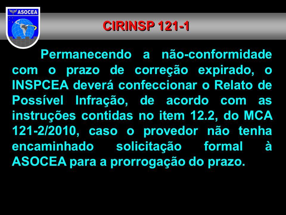 Permanecendo a não-conformidade com o prazo de correção expirado, o INSPCEA deverá confeccionar o Relato de Possível Infração, de acordo com as instru