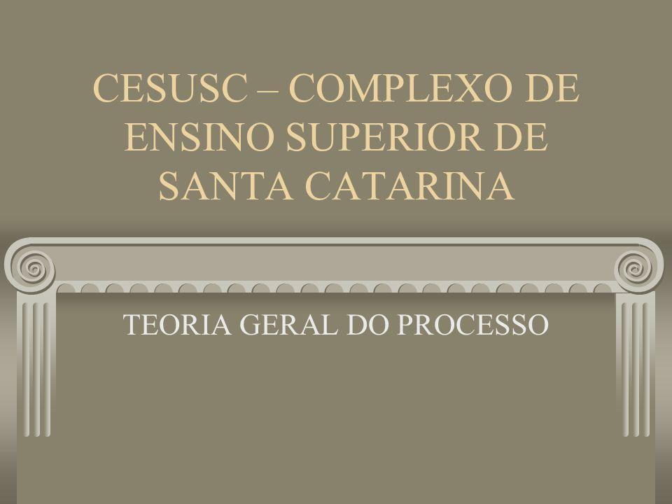 CESUSC – COMPLEXO DE ENSINO SUPERIOR DE SANTA CATARINA TEORIA GERAL DO PROCESSO