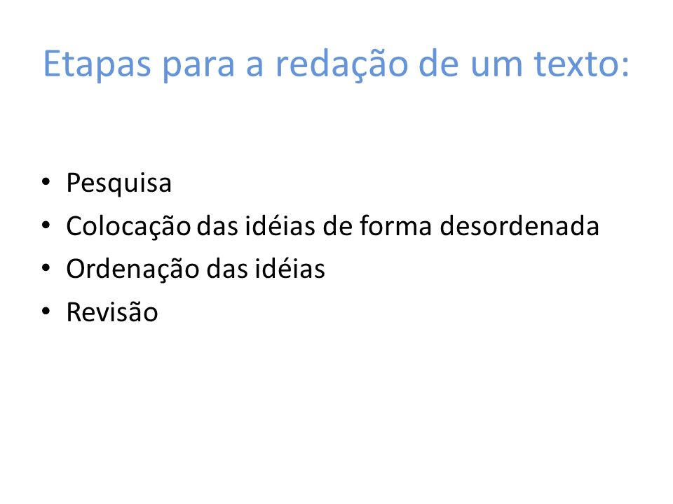 Etapas para a redação de um texto: Pesquisa Colocação das idéias de forma desordenada Ordenação das idéias Revisão