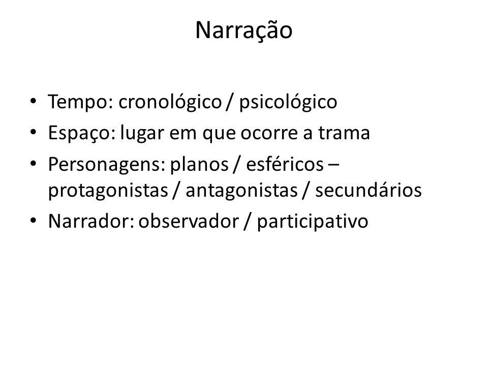 Narração Tempo: cronológico / psicológico Espaço: lugar em que ocorre a trama Personagens: planos / esféricos – protagonistas / antagonistas / secundá