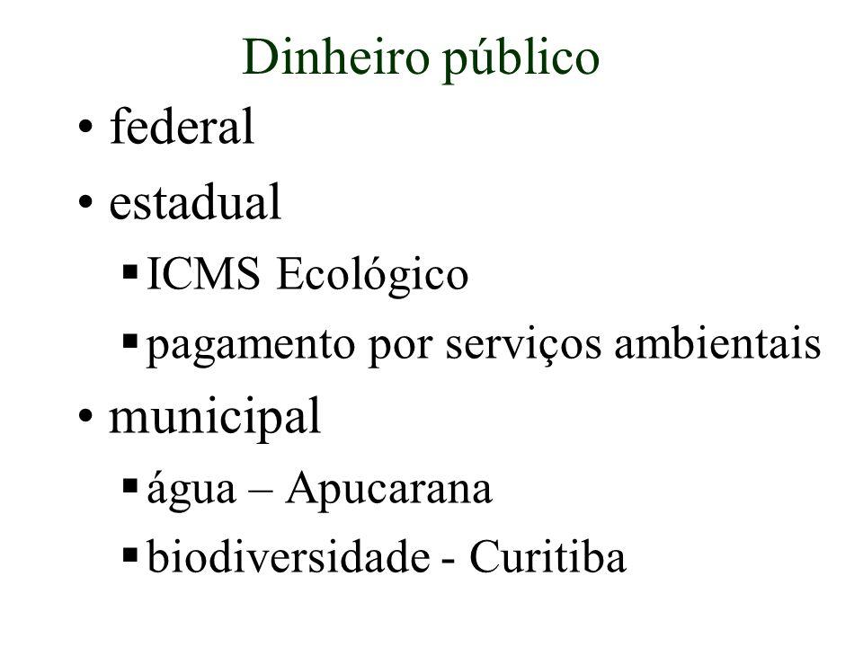 Dinheiro público federal estadual ICMS Ecológico pagamento por serviços ambientais municipal água – Apucarana biodiversidade - Curitiba