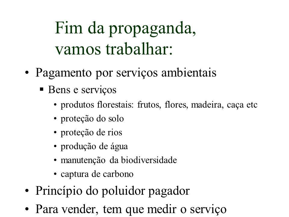 Pagamento por serviços ambientais Bens e serviços produtos florestais: frutos, flores, madeira, caça etc proteção do solo proteção de rios produção de