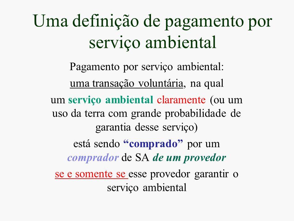 Uma definição de pagamento por serviço ambiental Pagamento por serviço ambiental: uma transação voluntária, na qual um serviço ambiental claramente (o