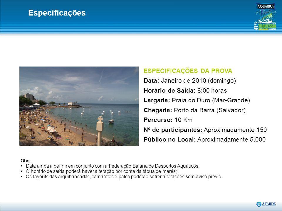 ESPECIFICAÇÕES DA PROVA Data: Janeiro de 2010 (domingo) Horário de Saída: 8:00 horas Largada: Praia do Duro (Mar-Grande) Chegada: Porto da Barra (Salv