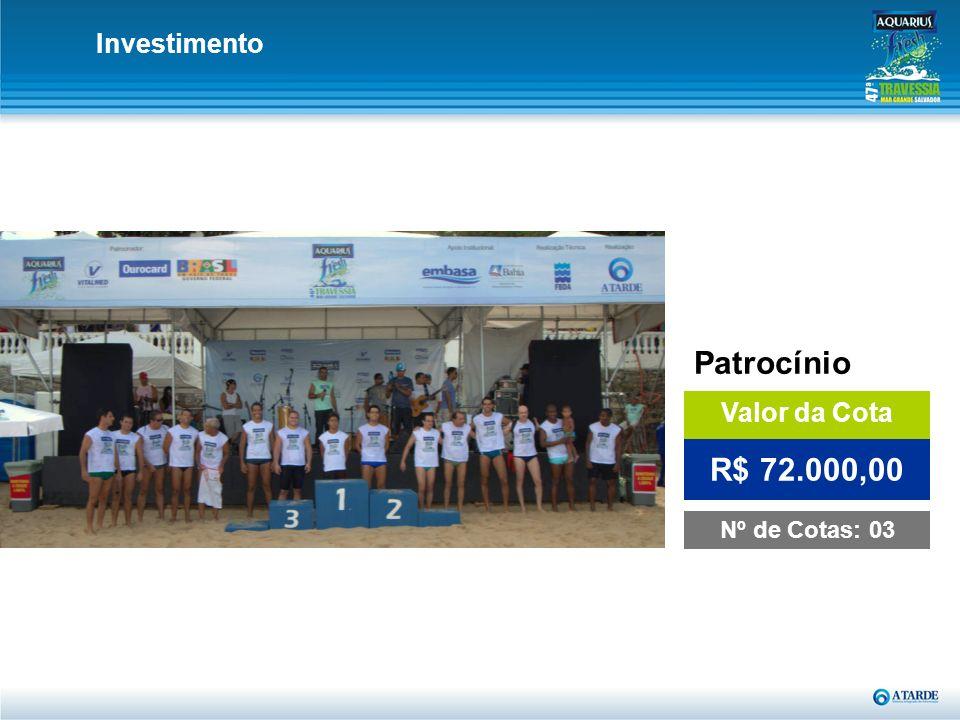 Investimento Patrocínio Valor da Cota Nº de Cotas: 03 R$ 72.000,00