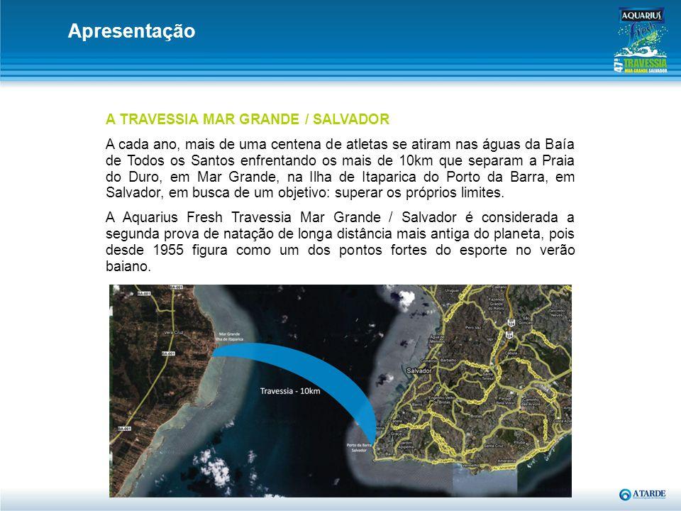 A TRAVESSIA MAR GRANDE / SALVADOR A cada ano, mais de uma centena de atletas se atiram nas águas da Baía de Todos os Santos enfrentando os mais de 10k