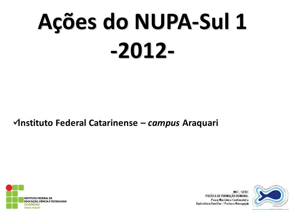 Ações do NUPA-Sul 1 -2012- Instituto Federal Catarinense – campus Araquari MEC / SETEC POLÍTICA DE FORMAÇÃO HUMANA: Pesca Marinha e Continental e Aqüi