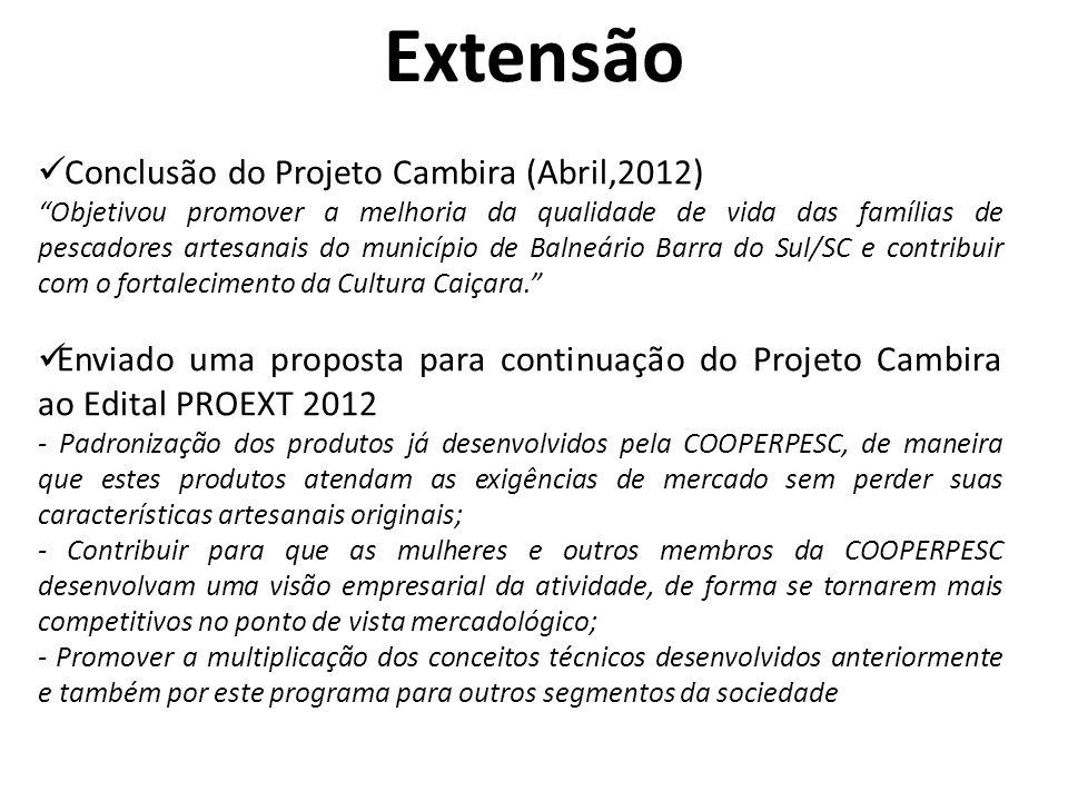 Pesquisa Projetos em desenvolvimento em 2012 1) Análise de sustentabilidade dos diferentes modelos de cultivo de camarões marinhos no Sul do Brasil.