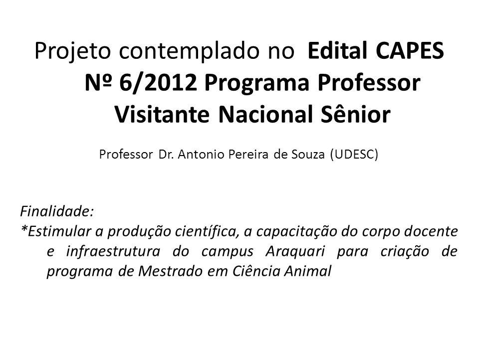Projeto contemplado no Edital CAPES Nº 6/2012 Programa Professor Visitante Nacional Sênior Professor Dr. Antonio Pereira de Souza (UDESC) Finalidade: