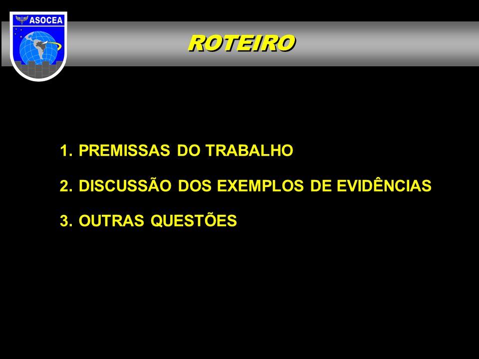 PREMISSAS DO TRABALHO DISCUSSÃO DOS EXEMPLOS DE EVIDÊNCIAS OUTRAS QUESTÕES ROTEIRO
