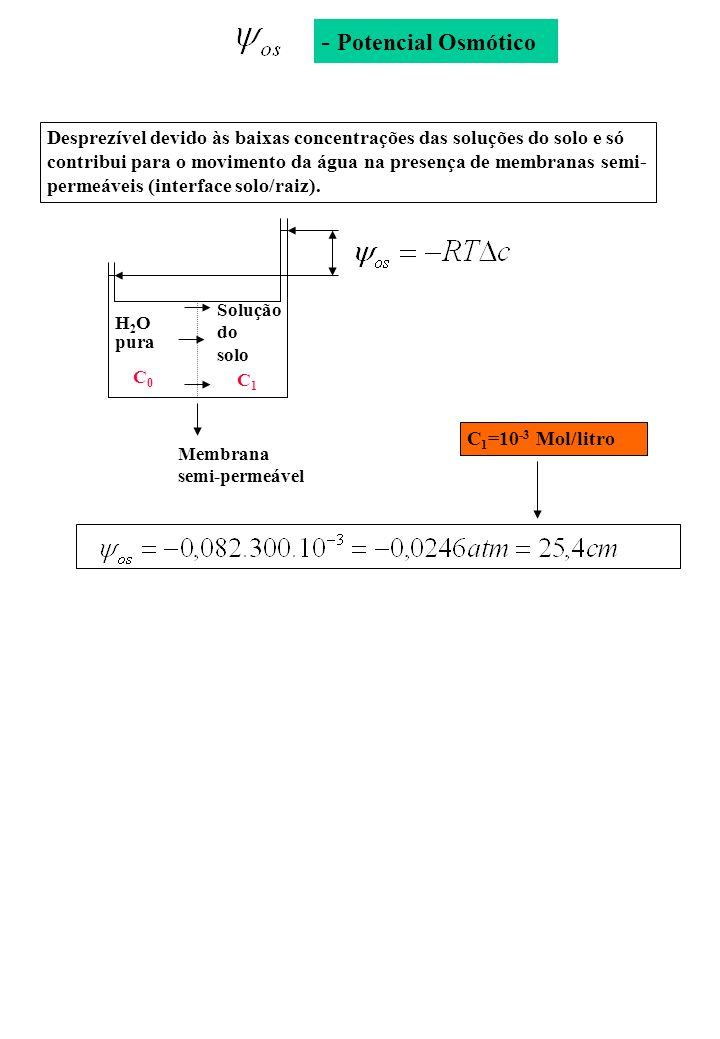 - Potencial Osmótico H2OH2O pura Solução do solo C0C0 C1C1 Membrana semi-permeável C 1 =10 -3 Mol/litro Desprezível devido às baixas concentrações das