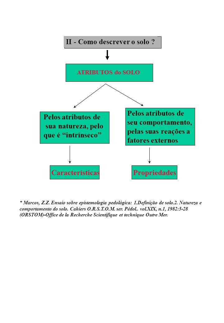 A - Atributos físicos do sistema solo: - Morfologia - Composição do Sistema Solo B - Atributos físicos da matriz do solo: - Composição da matriz - Composição granulométrica x Textura - Estrutura - Relações Massa/Volume entre os componentes da matriz.