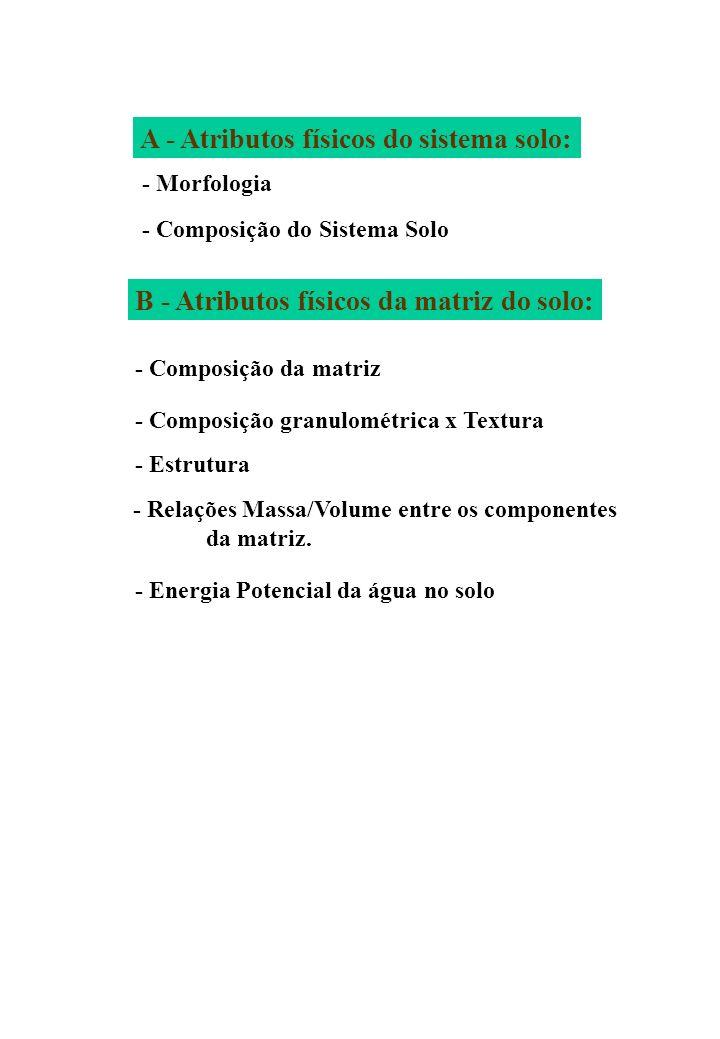 A - Atributos físicos do sistema solo: - Morfologia - Composição do Sistema Solo B - Atributos físicos da matriz do solo: - Composição da matriz - Com