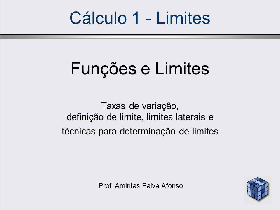 Cálculo 1 - Limites Funções e Limites Taxas de variação, definição de limite, limites laterais e técnicas para determinação de limites Prof. Amintas P