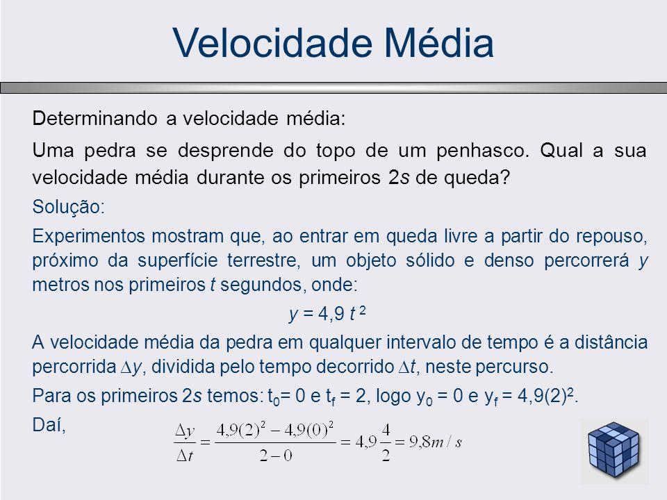 Velocidade Média Determinando a velocidade média: Uma pedra se desprende do topo de um penhasco. Qual a sua velocidade média durante os primeiros 2s d