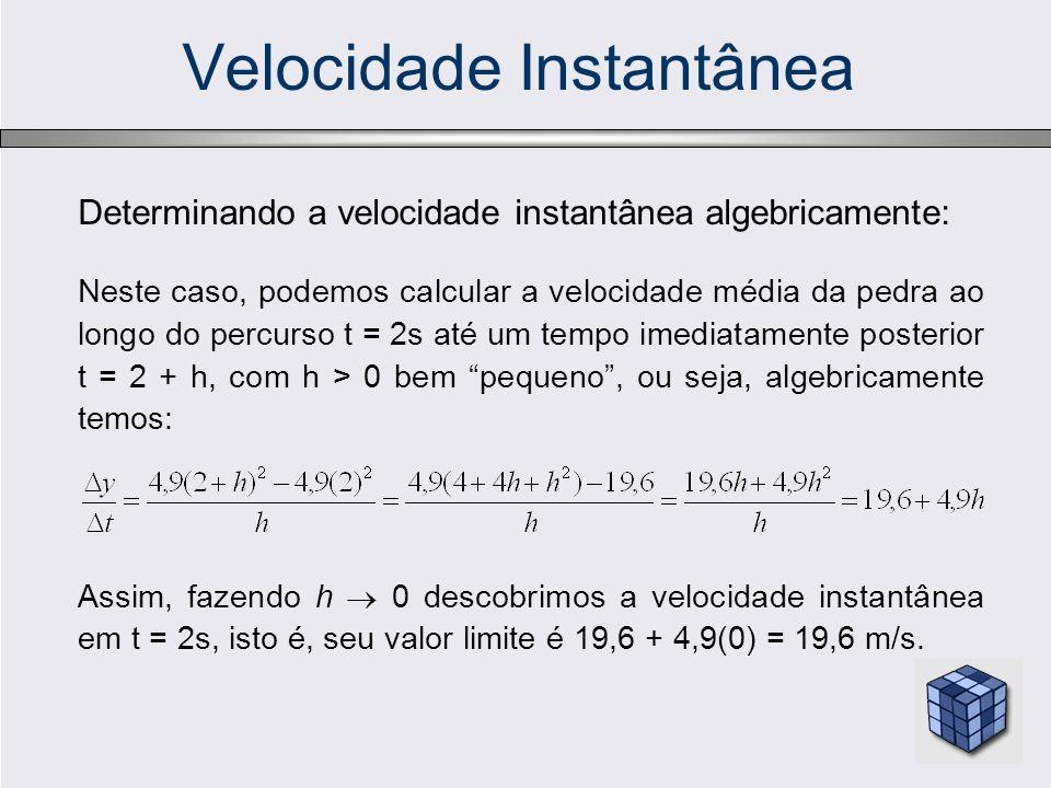 Velocidade Instantânea Determinando a velocidade instantânea algebricamente: Neste caso, podemos calcular a velocidade média da pedra ao longo do perc