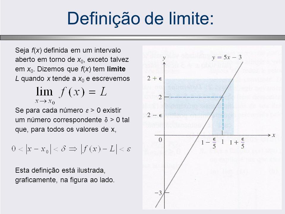 Definição de limite: Seja f(x) definida em um intervalo aberto em torno de x 0, exceto talvez em x 0. Dizemos que f(x) tem limite L quando x tende a x