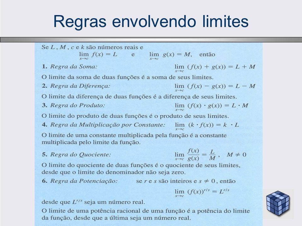 Exemplos 1 – Funções polinomiais: Os limites podem ser obtidos por substituição, se P(x) = a n x n + a n-1 x n-1 +...